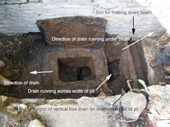 The layout of the drains in the winding drum pit